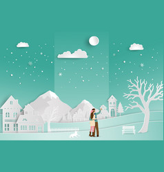 Concept of love in winter season and valentines vector