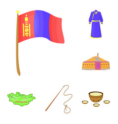 Country mongolia cartoon icons in set collection vector