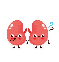 Cute kidneys with question mark character vector