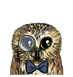 Cute smart owl with bow tie and monocle vector