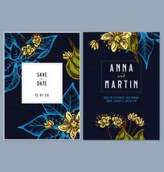 dark wedding invitation card with colored tilia vector image