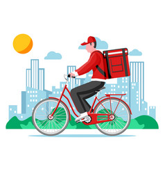 delivery man riding bicycle with box vector image