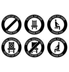 Do not sit here forbidden icons for seat safe vector
