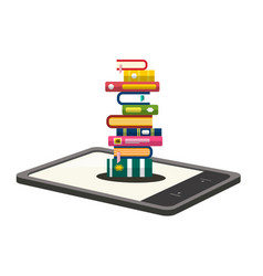 E-book reader with books pile illsutration vector