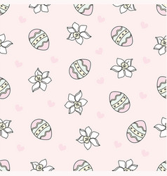 easter egg cartoon seamless pattern vector image