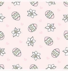 easter egg cartoon seamless pattern vector image