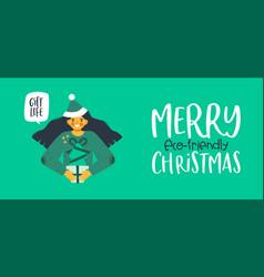 eco friendly christmas girl holding pine tree gift vector image