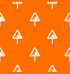 falling rocks warning traffic sign pattern vector image