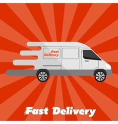 Fast delivery banner Commercial vehicle vector