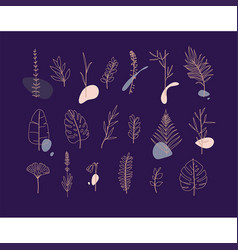 floral flat leaves set blue vector image