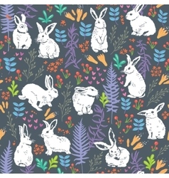 Floral pattern with white bunnies vector image
