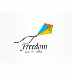 Freedom creative symbol concept color kite flight vector