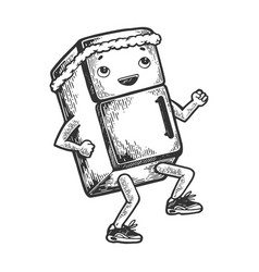 fridge runner sketch engraving vector image