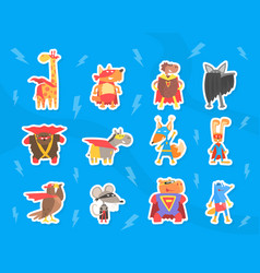 funny animals dressed as superheroes stickers set vector image