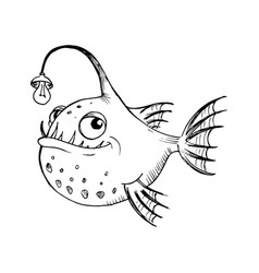 Funny fish black and white drawing in a cartoon vector