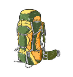 Hand drawn sketch of camping backpack in color vector