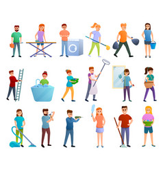 Housekeeping icons set cartoon style vector