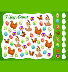 i spy easter kids game or puzzle template vector image