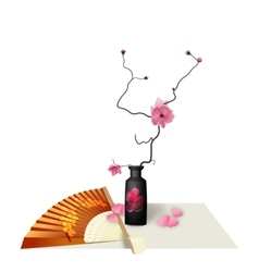 Ikebana Composition Figure Sakura flower Fan vector image