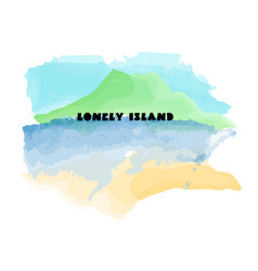 Isolated tropical island watercolor vector