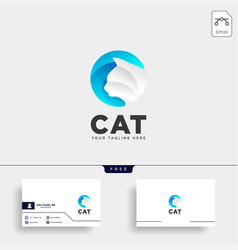 Letter c cat pet animal type logo template icon vector