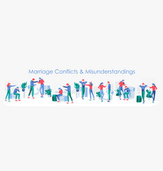 Marriage conflicts and misunderstandings vector
