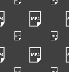 MP4 Icon sign Seamless pattern on a gray vector