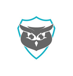 Owl shield logo design template isolated vector