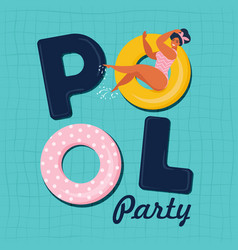 pool party invitation top view vector image