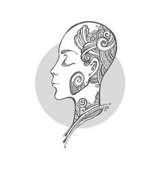Profile of a girl with tattoos vector