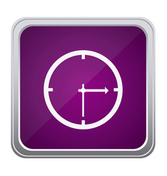 purple emblem clock icon vector image