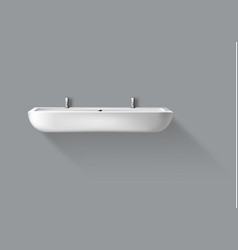 realistic washbasin with taps for bathroom vector image