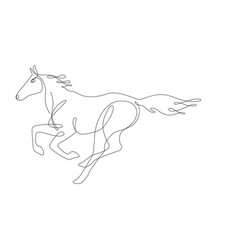running horse one line drawing continuous line vector image