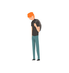 sad teen boy depressed lonely teenager vector image