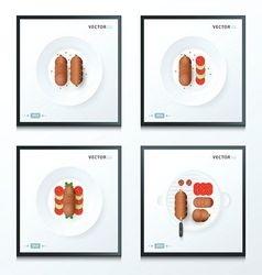 Sausage set vector