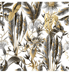 Seamless pattern with golden and metallic leaves vector
