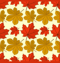 seamless pattern with maple and chestnut leaves vector image