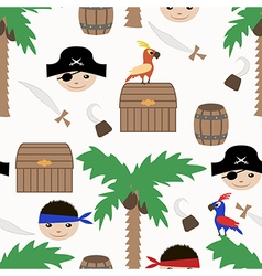 Seamless pirate colorful kids retro pattern vector image