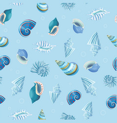 Seashells seamless pattern vector