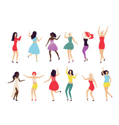 set dancing people in flat style young woman vector image