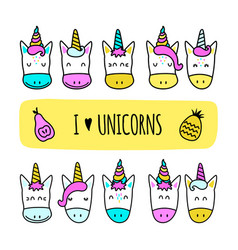 Set of colored unicorn icons isolated on white vector