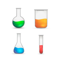 set of glossy realistic chemical flasks with vector image