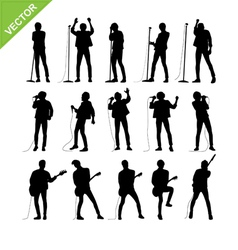 Singer and musicians silhouettes vector