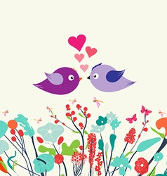 Spring postcard vintage with couple bird vector