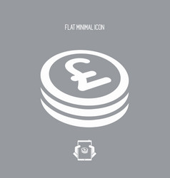 Sterling coin flat icon vector
