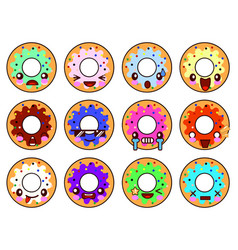 sweet donut character kawaii with glaze set of vector image