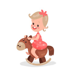 Sweet little girl playing rocking horse cartoon vector