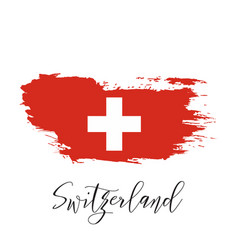 switzerland watercolor national country flag icon vector image