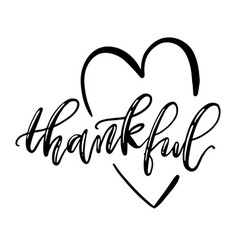 Thankful isolated lettering with heart symbol vector