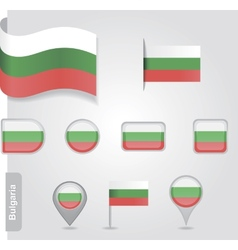 The Bulgarian flag - set of icons and flags vector